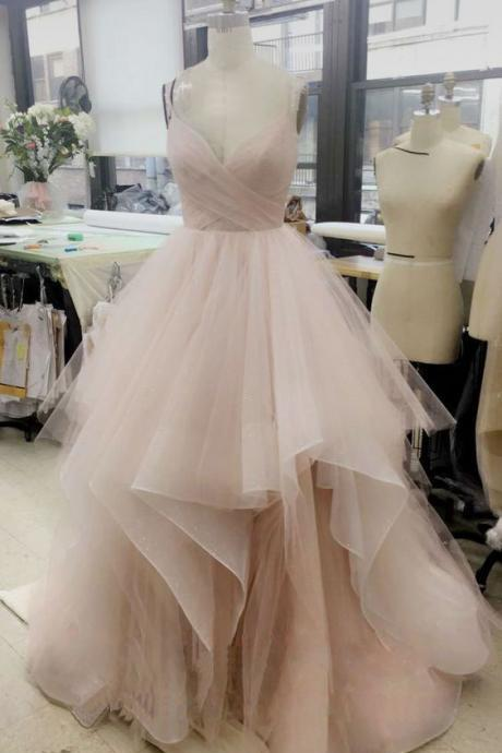 Elegant V Neck Tulle Long Prom Dress, Cute Tulle Evening Dress, Ball Gown Prom Dresses, Sweet 16 Dresses, Ball Gown Wedding Dresses