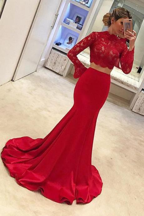 Two Piece Prom Dress,Red Prom Dresses, Lace Prom Dresses, Charming Prom Evening Dress, Long Sleeves Prom Dresses,Mermaid Evening Gowns,Prom Dresses 2018
