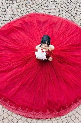 Modest Quinceanera Dress,Sexy Party Dress,Custom Made Evening Dress,Red Ball Gown,Fashion Prom Dress