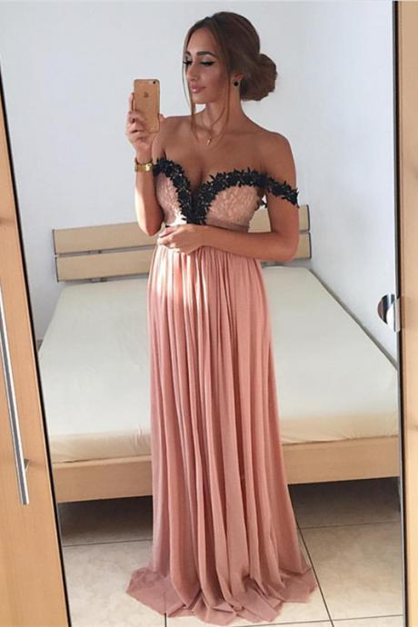 Pink Chiffon Off the Shoulder Prom Dress, Chiffon Prom Dresses, Long Evening Gowns,Elegant Bridesmaid Dress,Lace Applique Prom Dress