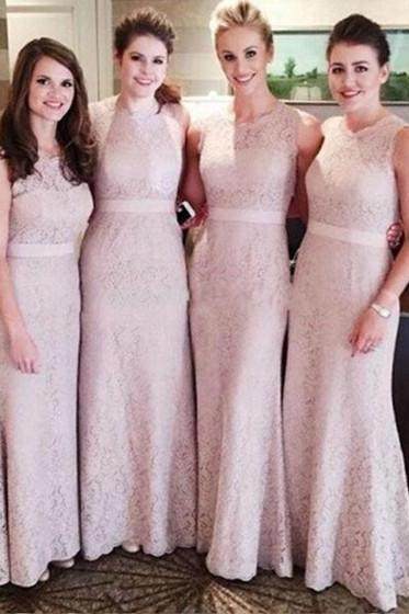 Sheath/Column Lace Beautiful Bridesmaid Dresses, Light Pink Bridesmaid Dresses, Lace Bridesmaid Gowns, Long Bridesmaid Dresses, Modest Bridesmaid Dresses