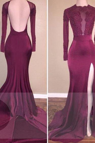 Beading Long Sleeves Mermaid Stretch Satin Prom Dresses 2017, Woman Evening Dresses, Long Sleeves Prom Dresses, Backless Prom Dresses for Woman