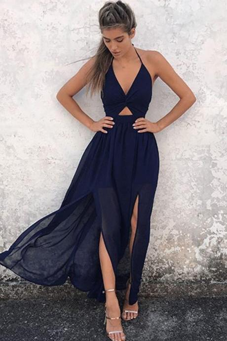 A-Line Halter Backless Navy-Blue Chiffon Prom Dress, Sexy Party Dress, Open Back Prom Dress, Beautiful Woman Dresses