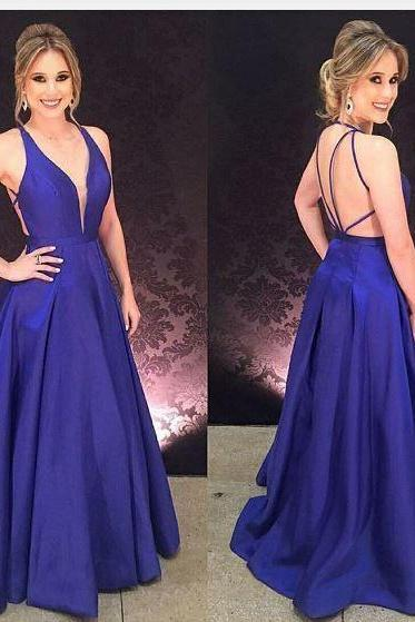 Vestido de Festa Azul Royal, Royal Blue Prom Dresses, Simple Long Prom Gowns, Woman Evening Dress, Formal Dresses for Weddings and Evening Events, Wedding Party Dresses, Wedding Guest Dresses