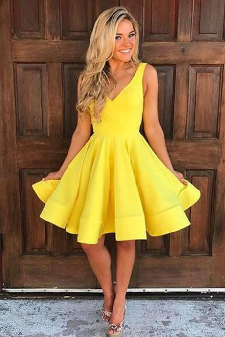 A-line Yellow Satin Short Prom Dress, Homecoming Dress, Short Prom Dresses, Pretty Homecoming Dresses, Satin Homecoming Dress,Short Party Dresses