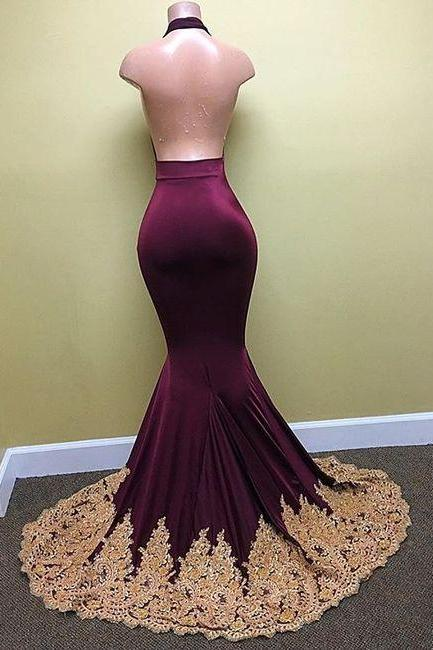 Mermaid Appliques Backless Evening Dresses, Deep-V-Neck Sexy Halter Prom Dress, Charming Purple Prom Dresses, Mermaid Prom Gowns, Sexy Backless Dress for Prom, Evening Dresses for Weddigns