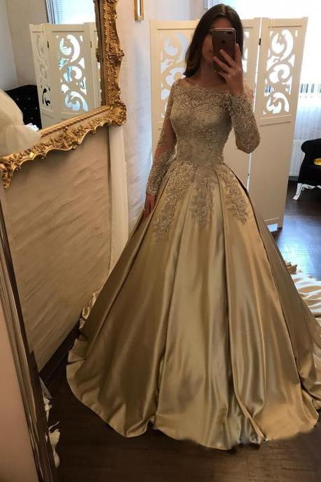 Glamorous Satin Scoop Neckline Ball Gown Formal Dresses With Lace Appliques, Boat Neck Lace Corset Satin Ball Gown Wedding Dress, Bridal Gowns Long Sleeves, Champange Wedding Dresses, Long Sleeves Wedding Gowns, Ball Gown