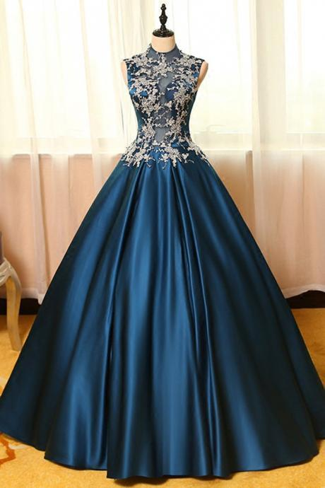 Blue Satin Lace Applique Round Neck See-through A-line Long Prom Dresses,Ball Gown Dresses, Vintage Prom Dress, Ball Gown