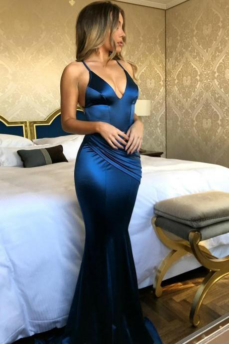 Backless Prom Dresses, Royal Blue Mermaid Prom Dresses, V Neck Prom Dress, Sexy Evening Dress, Prom Evening Dress, Woman Dresses, Formal Gowns