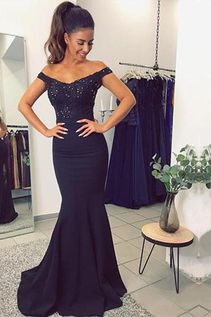 V Neck Long Navy Blue Mermaid Evening Dresses, Lace Off The Shoulder Prom Dresses, Navy Prom Dresses, Charming Prom Gowns, Elegant Bridesmaid Dresses