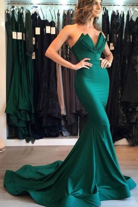 Sexy Evening Dress, Green Mermaid Trumpet Prom Dress, Sweetheart Satin Long Evening Dresses, Formal Dresses for Weddings