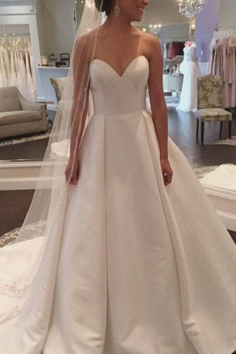 Simple and Claasic Formal Gowns Women Party Dresses, Wedding Dresses, Wedding Gown,White Sweetheart Satin Wedding Dress
