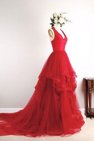 Red V Neck Tulle Long Prom Dress, Red Formal Dress, Gorgeous Prom Dresses, Custom Made Prom Evening Dresses