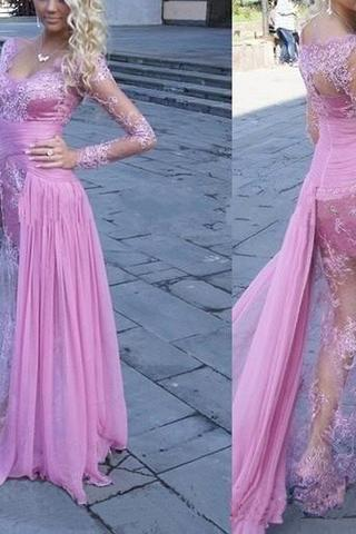 Gorgeous See Through Long Sleeve Long Sheath Sexy Lace Tulle Prom Dresses, Lavender Prom Dresses, Long Sleeves Prom Gowns, Lace Prom Dresses, Party Dress for Prom