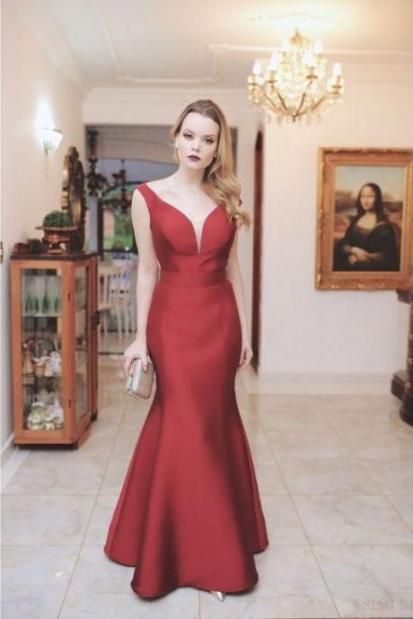 Burgundy Off Shoulder Long Mermaid Satin Prom Dresses, Elegant Prom Gowns, Charming Evening Dress, Sexy V Neck Prom Dresses