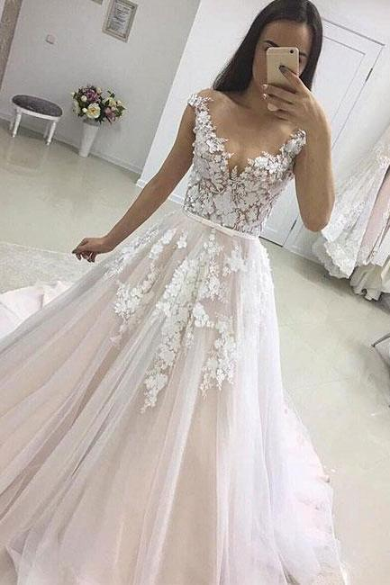 Charming Long Tulle Lace Prom Dresses, A-line Prom Dreses, Sexy Evening Dress, Lace Prom Evening Dress, Woman Formal Dresses