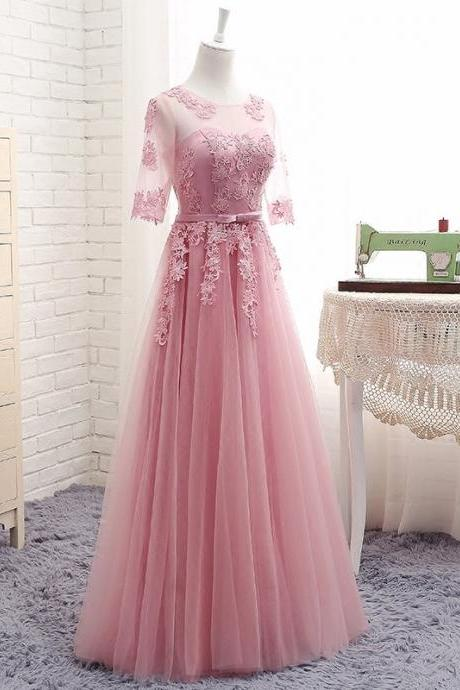 Pink Prom Dress,Long Tulle Prom Dresses, Lace Prom Dresses, Tulle Evening Dress, Simple Prom Gowns, Formal Women Dress, Long Bridesmaid Dreses