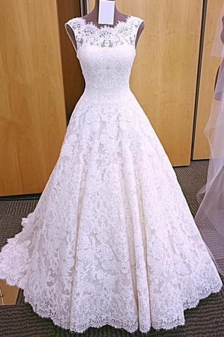Vintage Cap Sleeves Open Back Lace Wedding Dresses 2018, Modest Wedding Dresses, A-line Wedding Dress, Lace Wedding Dresses, High Quality Wedding Dresses, Custom Made Bridal Dresses