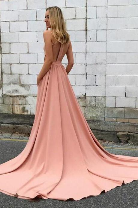 Amazing pink Prom Dress,Blush Pink Prom Dresses, High Neck Prom Dress, Long Evening Dresses, Backless Prom Dress, Open Back Prom Party Dresses