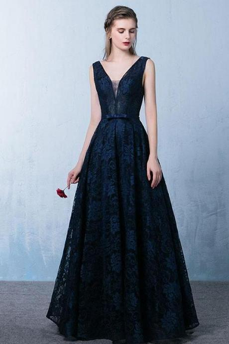 Elegant Dark Blue V Neck Long Prom Dress, Lace Evening Dress, Lace Formal Dresses, Prom Dress for Special Occasions, Woman Dress for Weddings and Events