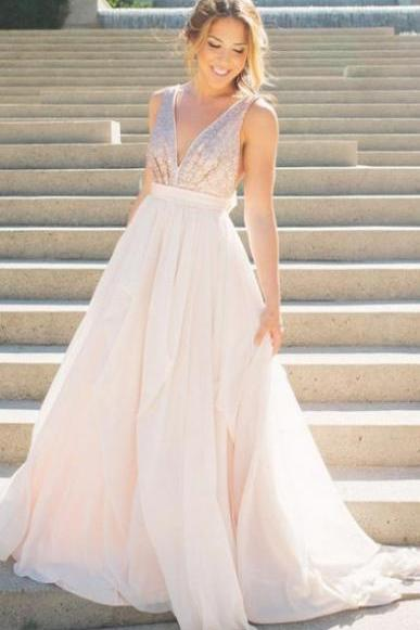 Pearl Pink Chiffon and Sequins Evening Dresses Backless A-Line Deep V-Neck Sweep Train Prom Dress, Woman's Formal Dress