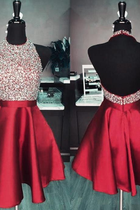 Burgundy Halter Beaded Short Prom Dress, Sexy Cocktail Dresses, Junior's Homecoming Party Dresses