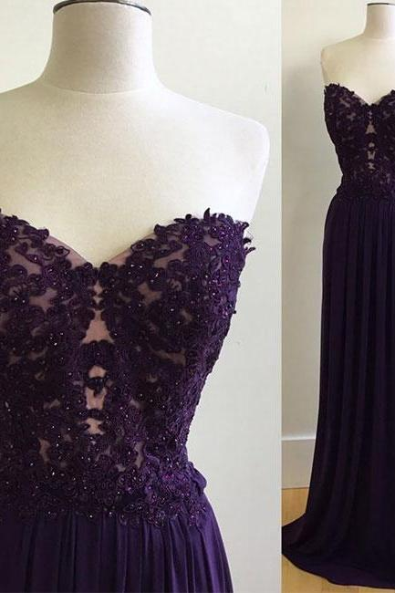Sweetheart Purple Lace Appliques Chiffon Prom Dresses, Elegant Sleeveless Evening Dress, Long Formal Dresses