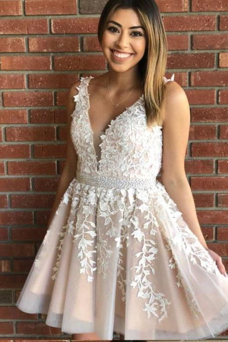 Princess V Neck Short White Lace Party Dress Homecoming Dress Prom Dress