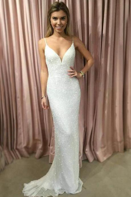 Spaghetti Straps V-Neck Prom Dresses, White Sequin Evening Dresses, Sexy Woman Dresses