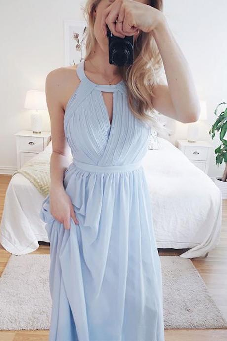 Light Blue Halter Long Chiffon Prom Dress,Backless Formal Dress, Cheap Prom Party Gowns