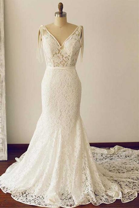 Gorgeous Lace V-neck Neckline Floor-length Mermaid Wedding Dresses, Sexy Backless Wedding Gowns