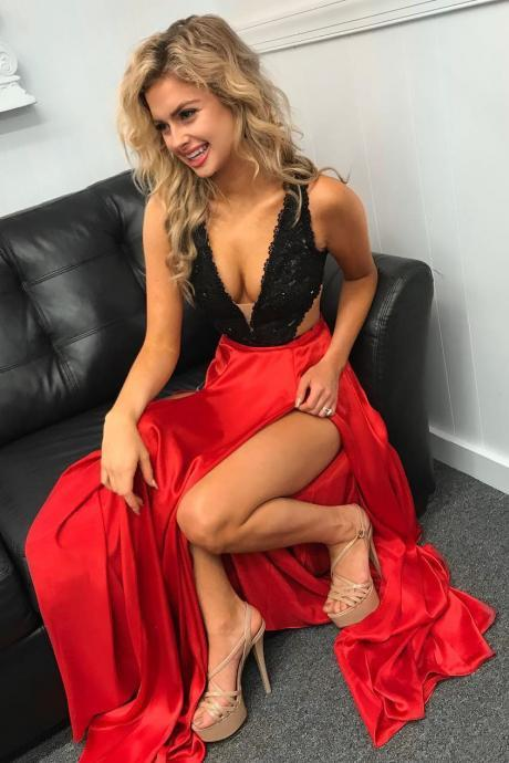 Gorgeous Black and Red Long Prom Dress with Detachable Train, Sexy Senior Prom Dresses
