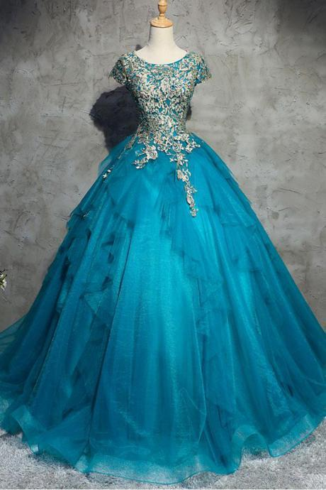 Unique Blue Tulle Lace Top Round Neck Winter Formal Prom Dresses, Modest Quinceanera Dress, Long Evening Dress with Sleeves