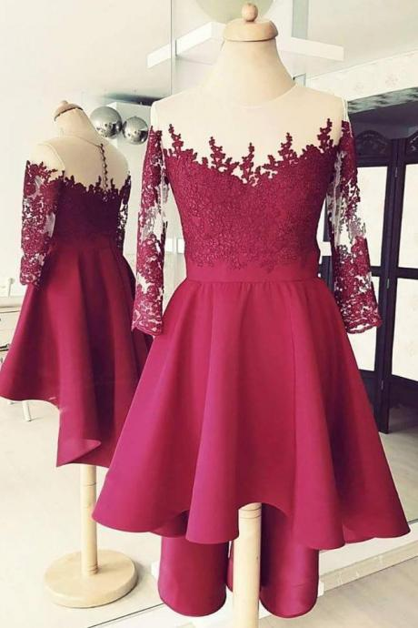 High Low Burgundy Homecoming Dresses with 3/4 Sleeves,Short Prom Dresses Lace Applique
