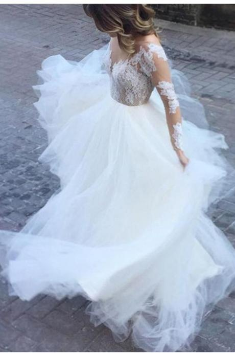 Illusion A-line Scoop Ball Gown Tulle Wedding Dresses with Lace Long Sleeves OPen Back Gown