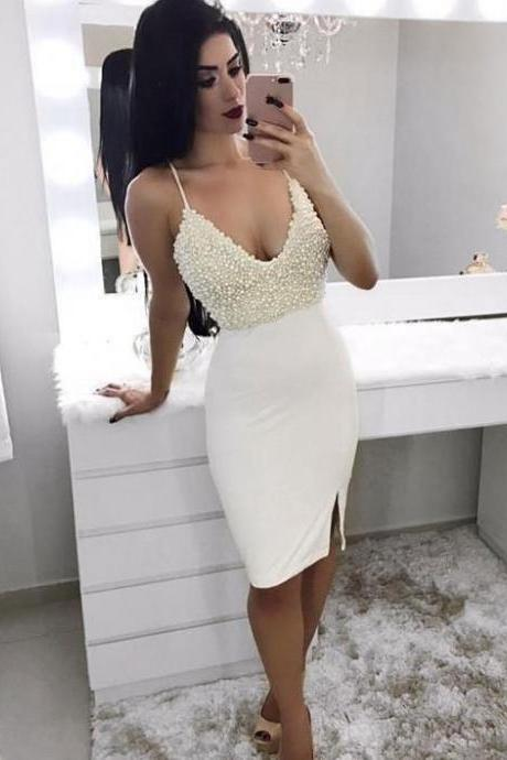 Sexy Homecoming Dresses with Beading Slit Sheath Sparkly Prom Dress Party Dress Cocktail Dresses