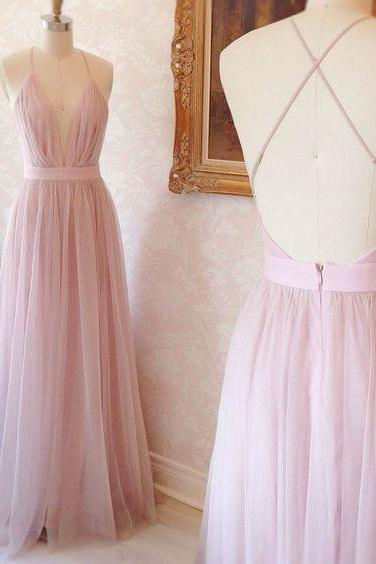 Simple A-line V-neck Long Pink Tulle Prom Dress with Criss Cross Back Evening Dress Cheap