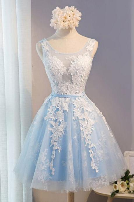 Baby Blue Tulle Lace Applique Homecoming Dress Backless A Line Knee Length Prom Dress Party Dress