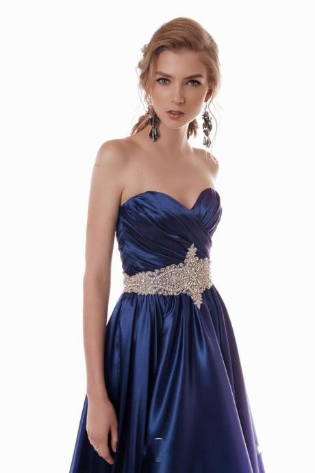 Sweerheart Blue Satin Beading Sash A-line Floor Length Prom Dresses Custom Made Special Occasion Dresses