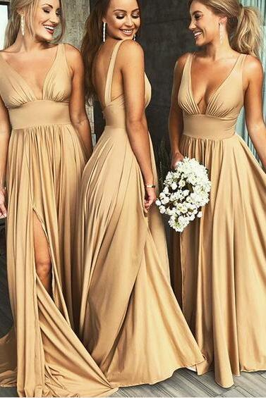 Champagne V Neck Long Bridesmaid Dresses Maid of the Honor Dress Wedding Party Dress