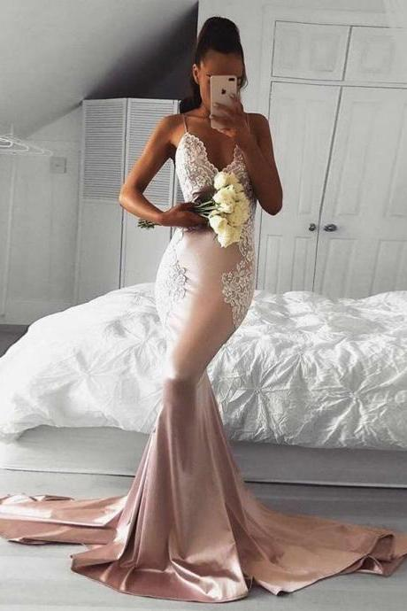 Sexy Spaghetti Straps Blush Satin Backless Mermaid Long Prom Dress with Appliques