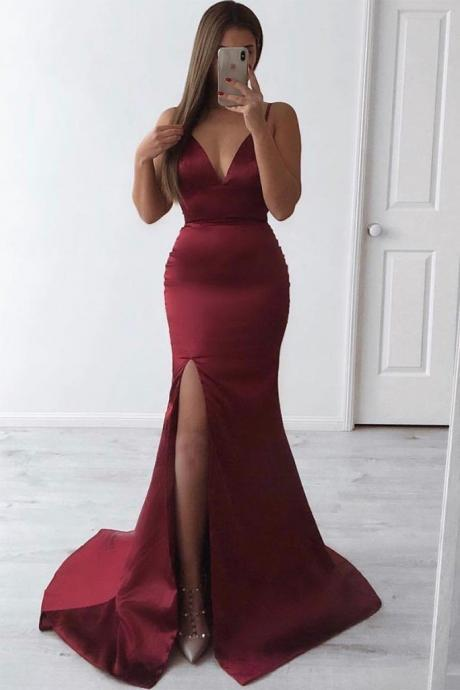 Slim Plunge Neck Open Back Burgundy Mermaid Prom Dresses Sexy Long Evening Dress Party Dress