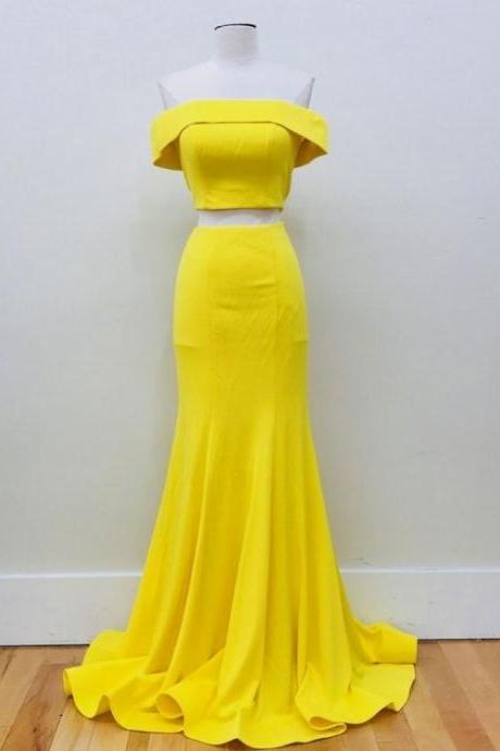 Sexy Off the Shoulder Mermaid Two Pieces Long Prom Dresses Yellow Party Dresses