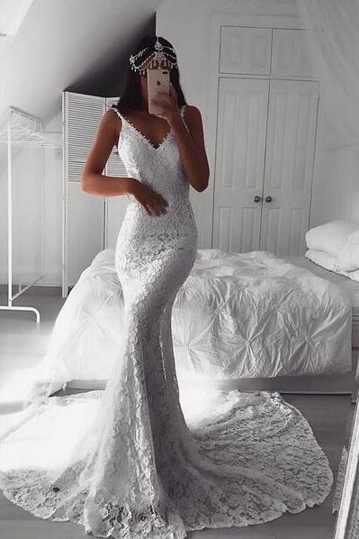 Sexy Deep V Neckline White Lace Mermaid Prom Dress OPen Back Evening Dress