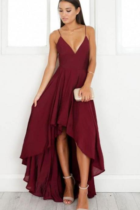 Simple Wine Red Chiffon High Low Homecoming Dress with Plunging Neckline Short Prom Dress with Thigh Split