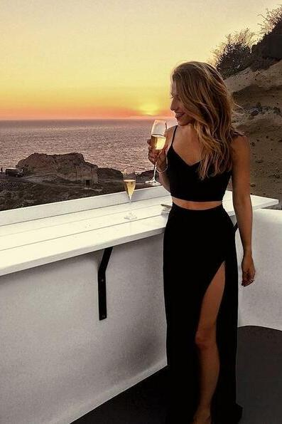 Sexy Tight Black Two Pieces Prom Party Dress with Side Slit Long Dress