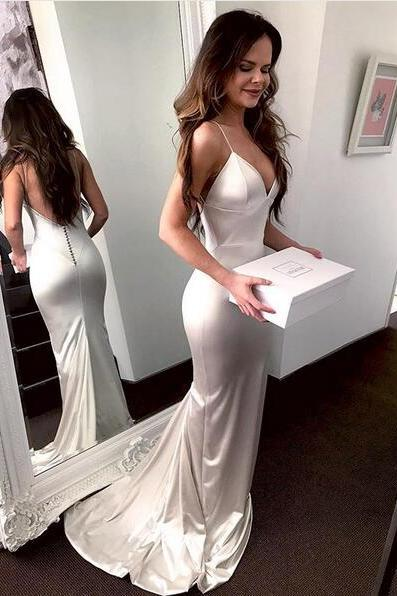Sexy Spaghetti Straps V Neck White Sheath Long Prom Dress Evening Party Dress Open Back