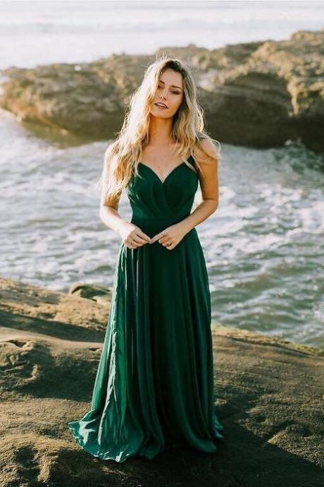 Charming Green Chiffon A-line Long Prom Dress Woman Evening Dress