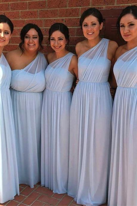 Light Blue One Shoulder Bridesmaid Dress,Floor Length Long Chiffon Bridesmaid Dress