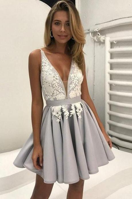 Cute Grey Lace Applique V Neck Homecoming Dress,Short Prom Dress,Backless Gradutaion Dress